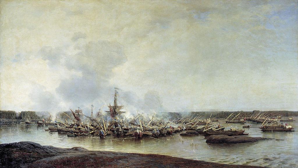 Сражение при Гангуте, художник Алексей Боголюбов
