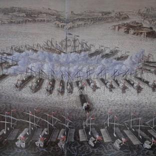 Гангутское сражение, гравюра Маврикия Бакуа