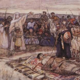 Княгиня Ольга встречает тело князя Игоря, Василий Иванович Суриков