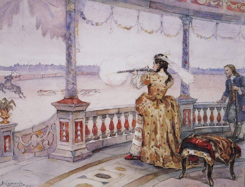 Императрица Анна Иоанновна в петергофском Тампле стреляет оленей, Василий Иванович Суриков