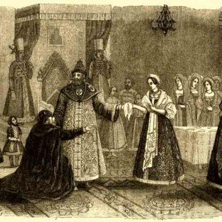 Избрание Натальи Кирилловны Нарышкиной невестой царя Алексея Михайловича, гравюра Ельваля