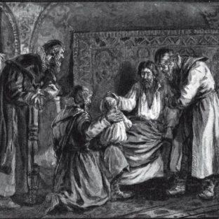 Василий III Иванович благословляет перед кончиной сына своего Ивана IV, гравюра Ю. Мультановский