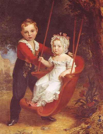 Великий князь Александр Николаевич (будущий император Александр II России) со своей младшей сестрой, великой княгиней Марией Николаевной, Джордж Доу