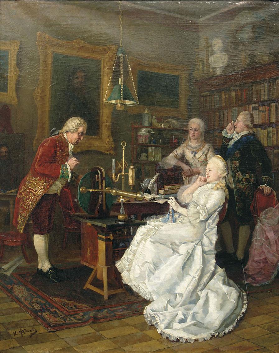 Императрица Екатерина II, посещающая М. В. Ломоносова, И. К. Федоров (автор живописного оригинала) с гравюры Флюгеля