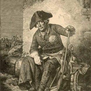 """Фридрих II после битвы при Колине, иллюстрация к книге """"Король Фридрих Великий"""", Теодор Рехтиш, издатель Георг Виганд"""