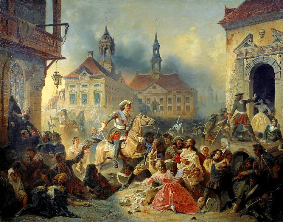 Петр I усмиряет ожесточенных солдат своих при взятии Нарвы в 1704 году, Н. А. Зауервейд