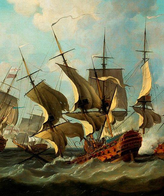Корабль Thésée тонет во время битвы Киберона в 1759. Фрагмент из картины Ричарда Патона