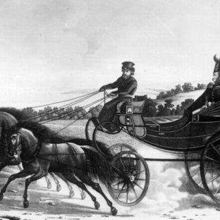 Император Александр I в коляске подъезжает к загородному дворцу, Афанасьев