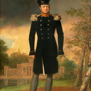 Портрет Александра I России на фоне дворца на воде (Лазенковский дворец, Варшава), Джордж Доу