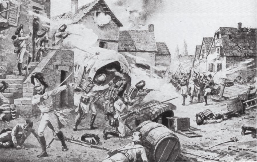 Французская пехота дивизии Молитора захватила деревню Адерклаа у австрийских гренадеров, Дэвид Чандлер