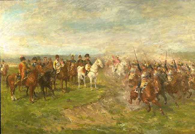 Наполеон в битве при Ваграме и кирасиры, приветствующие их во время кавалерийской атаки, Гвидо Сигрист