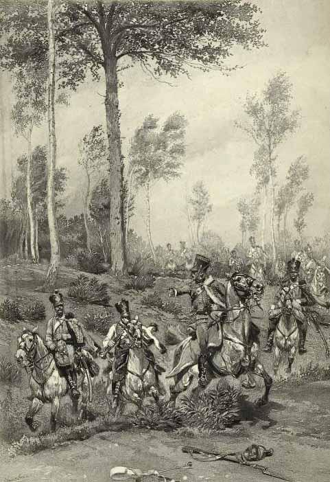 Французские гусары на разведывательной миссии в 1809 году, автор неизвестен