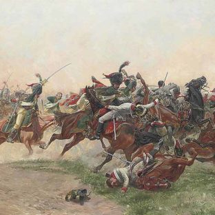 Французская имперская гвардия атакует австрийских драгунов в битве при Ваграме, Шартье Анри-Жорж-Жак