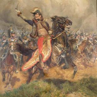 Генерал Ласалль нападает на Ваграм 6 июня днем, прямо перед тем, как его убили. Жан Батист Эдуард Детайль