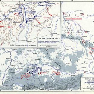 Ульмская кампания - бои вокруг Ульма, 7-9 октября 1805 г., карта