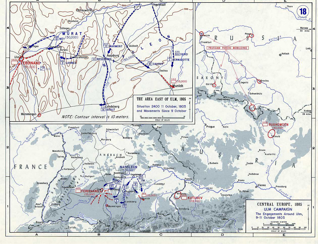 Ульмская кампания - бои вокруг Ульма, 9-11 октября 1805 г., карта