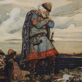 Олег у костей коня, иллюстрация к «Песни о вещем Олеге», В. М. Васнецов