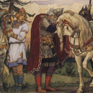 Прощание Олега с конем, иллюстрация к «Песни о вещем Олеге», В. М. Васнецов