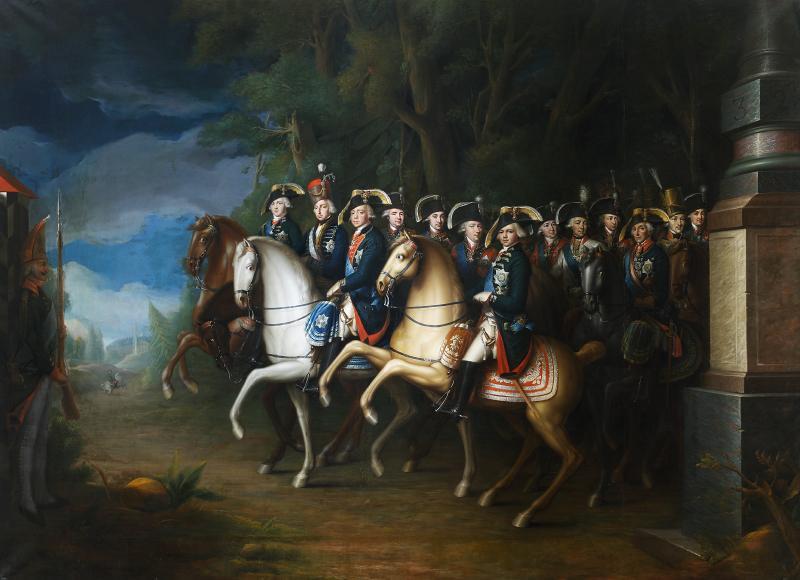 Конный портрет императора Павла I c сыновьями и палатином Венгерским Иосифом, И. Б. Лампи Младший