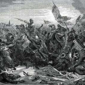 Битва князя Пожарского с гетманом Ходкевичем под Москвой, гравюра Поца, рисунок Коверзнева