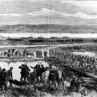 Переход русских через Дунай у Зимницы, иллюстрация в лондонской газете