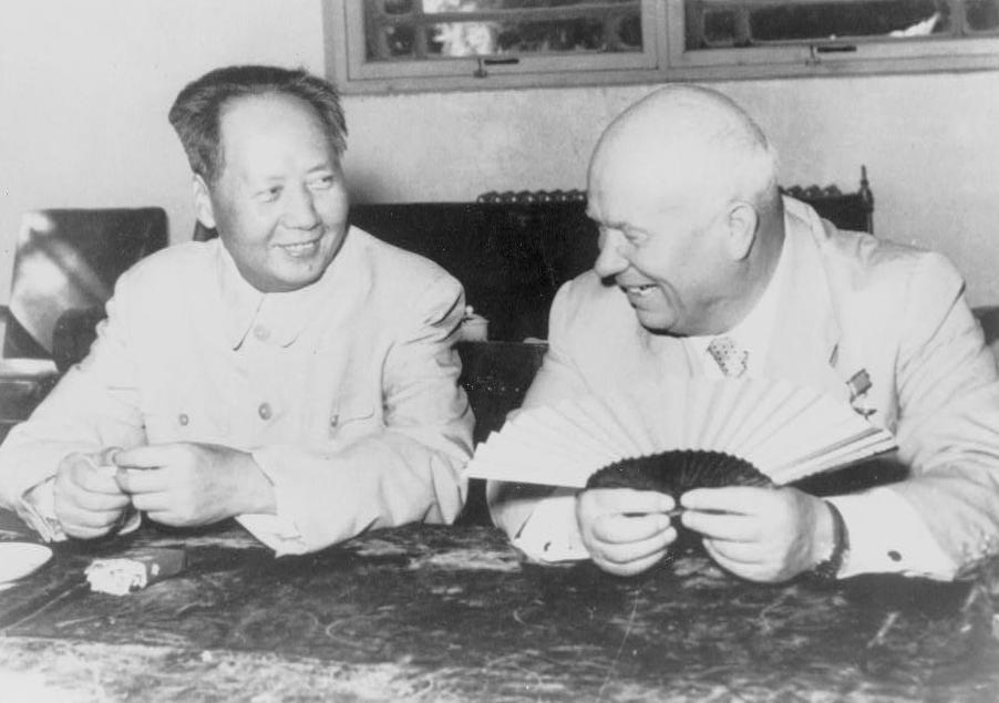 Мао Цзэдун и Никита Хрущев, автор неизвестен