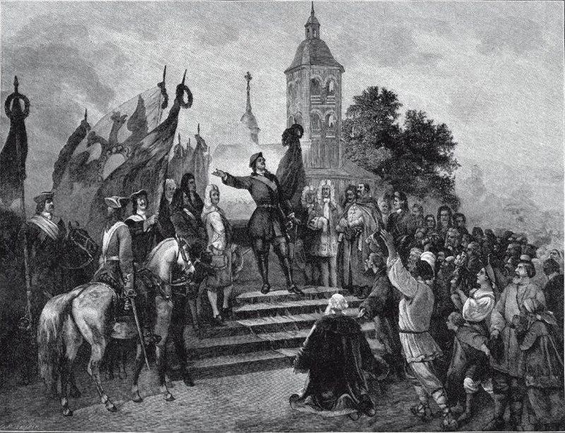 Петр I объявляет Ништадтский мир, А. Шарлемань