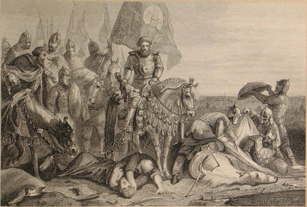 Дмитрий Донской (на коне), Пересвет и Челубей (убиты) на Куликовом поле. Борис Артемьевич Чориков