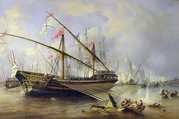 Гренгамское сражение, художник Ф. Перро