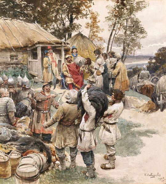 Князь Игорь собирает дань с древлян в 945 году, Клавдий Васильевич Лебедев