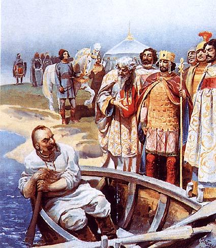 Встреча Святослава с византийским императором Цимисхием на берегу Дуная, Клавдий Васильевич Лебедев
