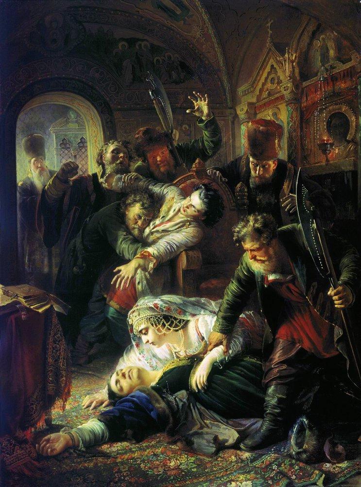 Агенты Дмитрия Самозванца убивают сына Бориса Годунова, К. Е. Маковский