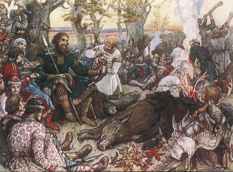 Отдых великого князя Владимира Мономаха после охоты, Виктор Михайлович Васнецов