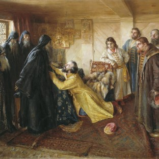Царь Иван Грозный просит игумена Корнилия благословить его в монахи, Клавдий Васильевич Лебедев