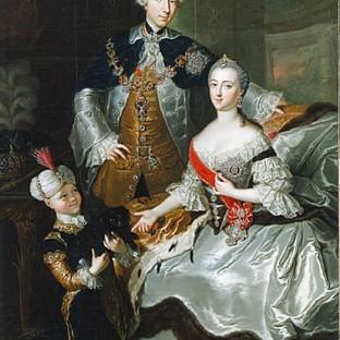 Великий князь Петр Федорович и великая княгиня Екатерина Алексеевна с пажем, А. Р. Лисчевская