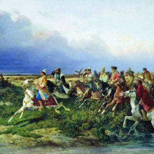 Царь Алексей Михайлович с боярами на соколиной охоте близ Москвы, Николай Сверчков