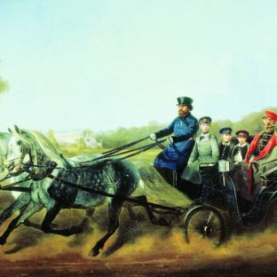 Катание в коляске (Александр II с детьми), Николай Егорович Сверчков