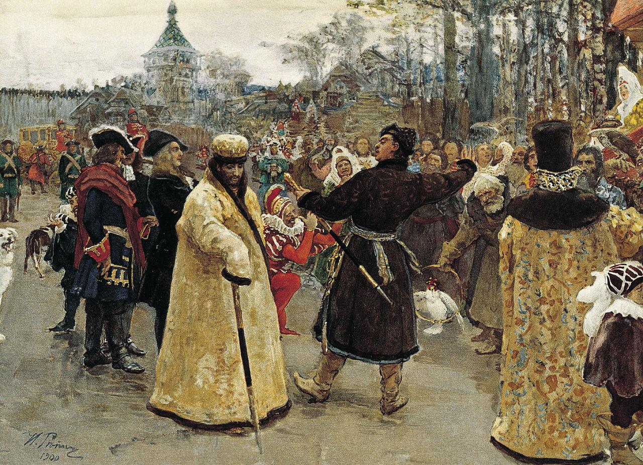 Приезд царей Иоанна и Петра Алексеевичей на Семеновский потешный двор в сопровождении свиты, Илья Ефимович Репин