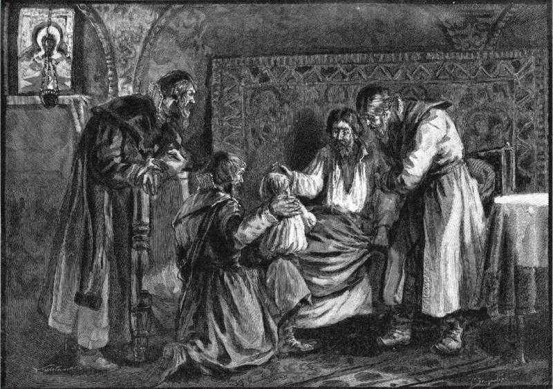 Василий III благословляет перед кончиной сына своего Ивана IV, гравюра Ю. Мультановский
