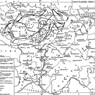 Карта восстания в Литве 1863-1864 гг., О. И. Максимайтене