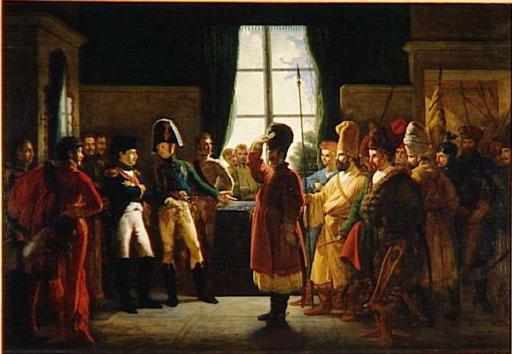 Александр I представляет Наполеону калмыков, казаков и баскиров русской армии (9 июля 1807 года), Пьер-Ноласк Бержере