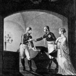 Король Фридрих Вильгельм III и прусская королева Луиза с царем Александром у саркофага Фридриха II, Фридрих Георг Вайч