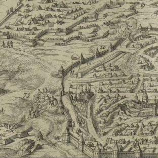 """Штурм Смоленска русскими войсками в 1633 году, фрагмент гравюры """"Осада Смоленска"""", автор неизвестен"""