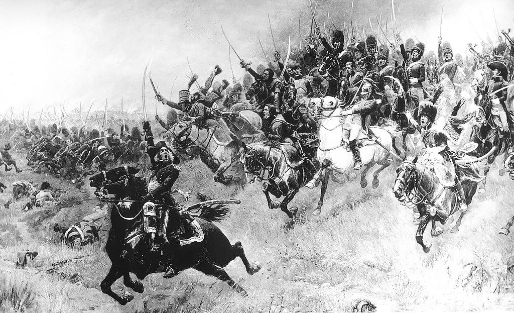 Конные гренадеры и егеря во главе с Бессьером (на переднем плане с поднятым мечом) устремляются на австрийскую конницу, Альфонс Лалоз