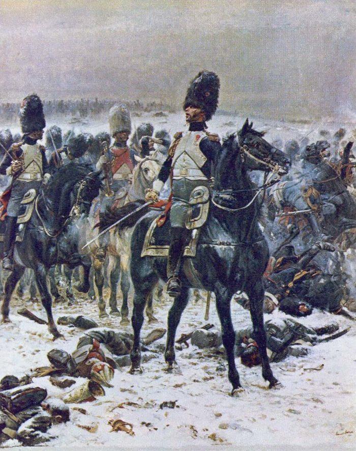 Полковник Лепик в Эйлау на коне с гренадерами Императорской гвардии, Жан Батист Эдуард Детайль