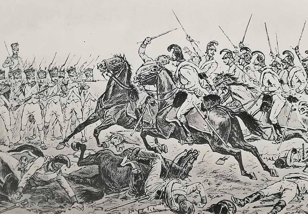"""Обстрел австрийской кавалерии принца Лихтенштейна 10-м линейным пехотным полком (дивизия Сера) в битве при Ваграме. Книга """"Napoleon et l'Autriche""""."""