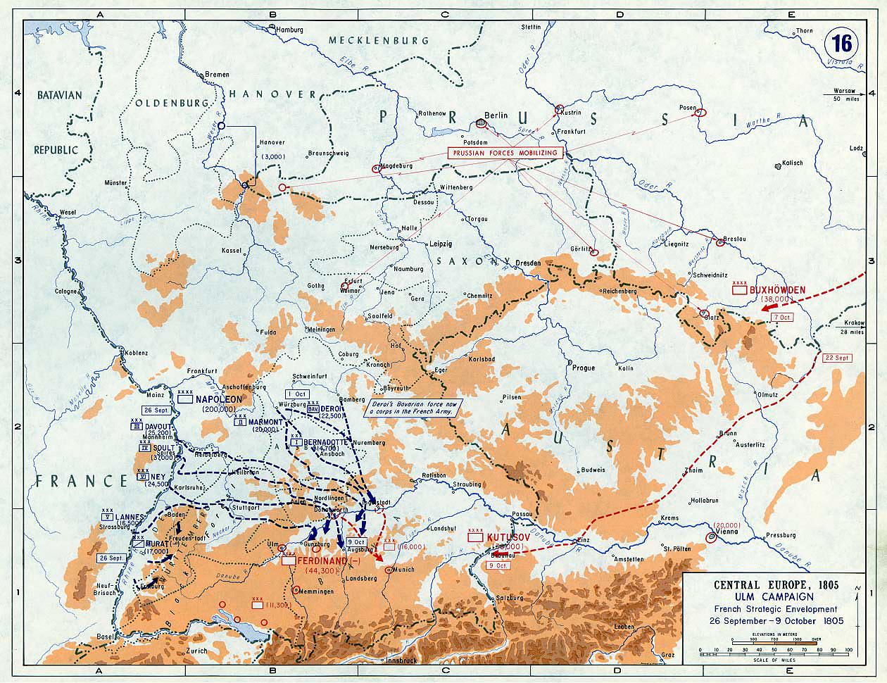 Французская стратегия, 26 сентября - 9 октября 1805 г., карта