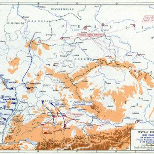 Ульмская кампания - вторжение в Баварию и французское собрание на Рейне, 2-25 сентября 1805 г., карта