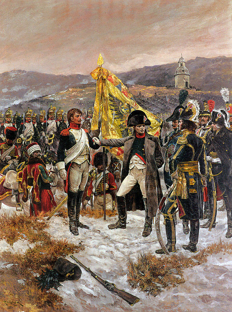 Наполеон на берегу ручья Литавы наградил солдата за храбрость во время битвы при Аустерлице, Ричард Кейтон Вудвиль